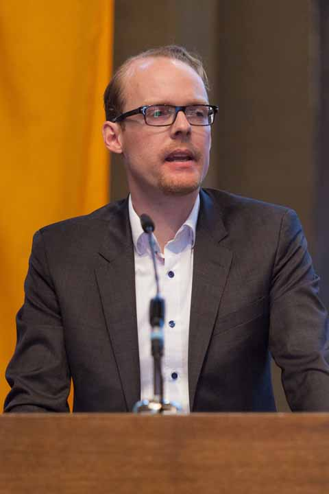 Felix Wintsch, Enkel der Stifter, während seines Dankwortes